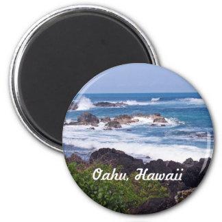 Orilla del norte en la isla de Oahu en Hawaii Imán Redondo 5 Cm