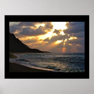 Orilla del norte en la puesta del sol póster
