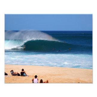 Orilla del norte Hawaii de la onda de la tubería Fotografía
