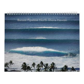 Orilla del norte Hawaii de la tubería del Banzai Calendarios