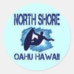 ORILLA DEL NORTE, OAHU, HAWAII ETIQUETA REDONDA