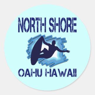 ORILLA DEL NORTE, OAHU, HAWAII PEGATINA REDONDA