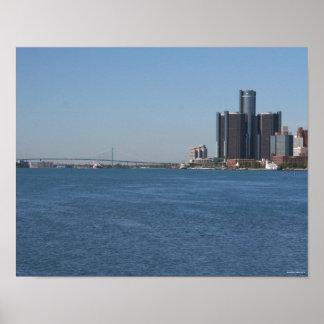 Orilla del río de Detroit en un día soleado Posters