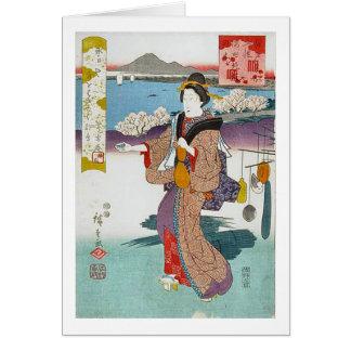 Orilla del río de Sumida del cerezo Tarjeta De Felicitación