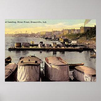 Orilla del río del aterrizaje del barco de Evansvi Póster