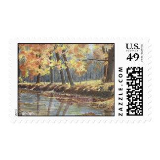 orilla del río del otoño sellos postales