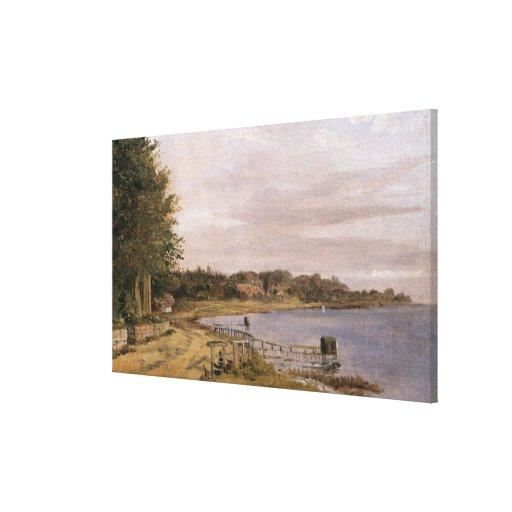 Orilla del río en Emilliekilde Lona Envuelta Para Galerías