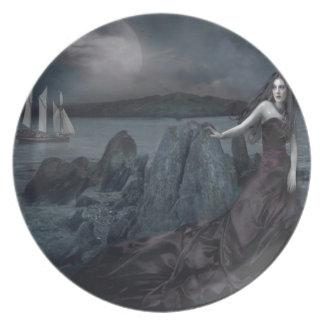 Orilla oscura de la princesa mar de la fantasía ab plato de comida