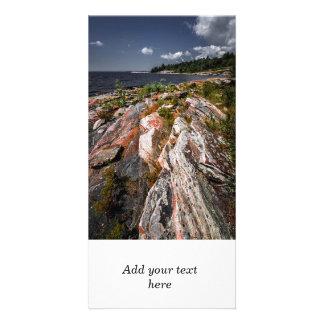 Orilla rocosa de la bahía georgiana tarjetas fotográficas