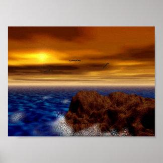 Orilla rocosa en la puesta del sol posters
