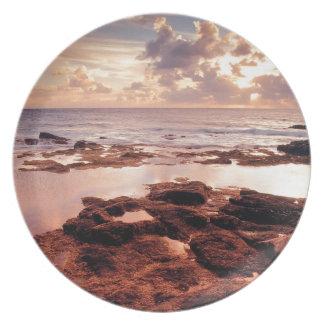Orilla serena del mar platos de comidas