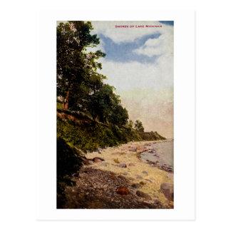 Orillas del vintage del lago Michigan Tarjetas Postales