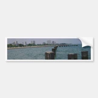 Orillas y agua del lago Michigan Pegatina De Parachoque