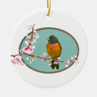 Oriole Bird on Branch with Cherry Blossoms Christmas Ornament