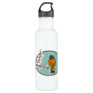Oriole Bird on Branch with Cherry Blossoms Water Bottle