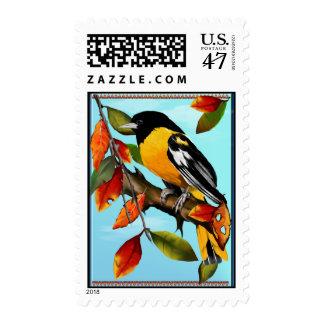 Oriole en franqueo de la caída timbres postales