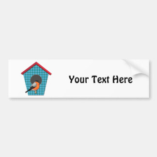Oriole on Blue Plaid House Bumper Sticker