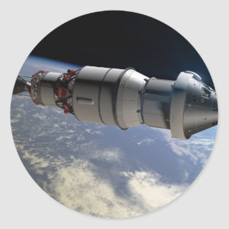 Orion capsule and Delta IV upper-stage in orbit Classic Round Sticker