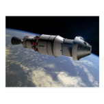 Orion capsule and Delta IV upper-stage in orbit Postcard