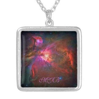Orion Nebula and Trapezium Stars Square Pendant Necklace