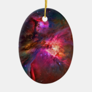 Orion Nebula and Trapezium Stars Double-Sided Oval Ceramic Christmas Ornament