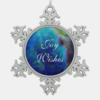 Orion Nebula Beautiful Blue Snowflake Pewter Christmas Ornament