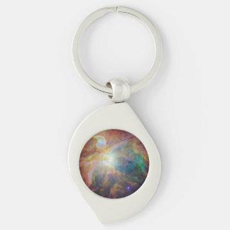 Orion Nebula Composite Silver-Colored Swirl Metal Keychain