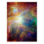 Orion Nebula Hubble Spitzer Space Postcard