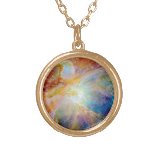 Orion Nebula Hubble Spitzer Telescope Space Photo Gold Plated Necklace