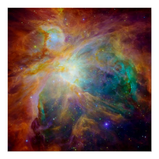 Orion Nebula Hubble Amp Spitzer Telescopes Poster Zazzle Com