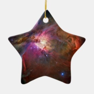 Orion Nebula (Hubble Telescope) Double-Sided Star Ceramic Christmas Ornament