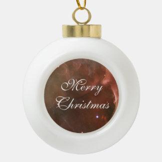 Orion Nebula salmon pink NASA Ceramic Ball Christmas Ornament