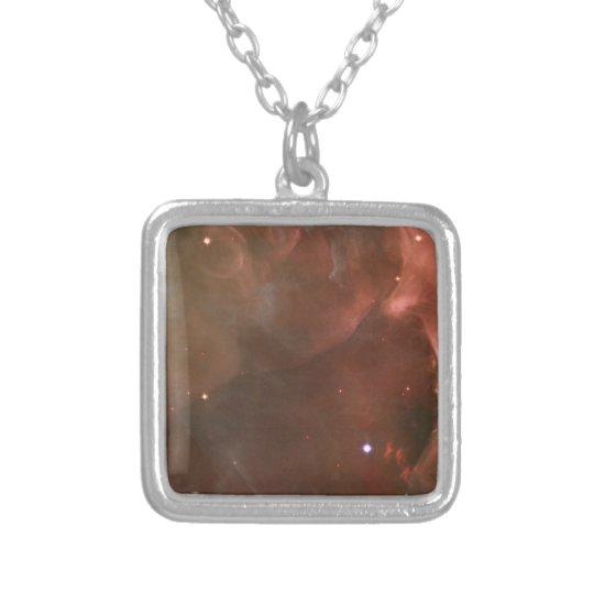 Orion Nebula salmon pink NASA Silver Plated Necklace
