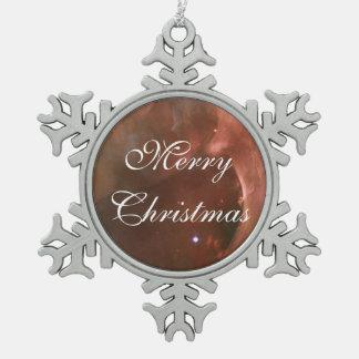 Orion Nebula salmon pink NASA Snowflake Pewter Christmas Ornament