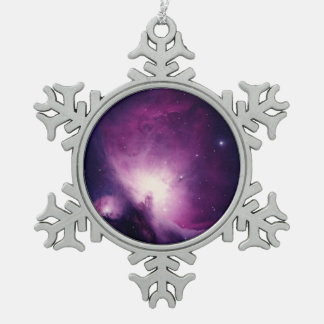 Orion nebula snowflake pewter christmas ornament