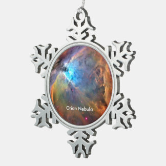 Orion Nebula Space Galaxy Snowflake Pewter Christmas Ornament