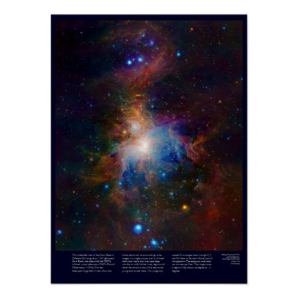 Orion Nebula with glowing stars, gas and galaxies Posters