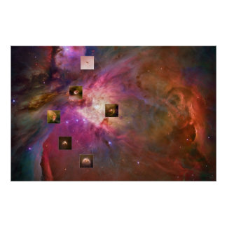 Orion Nebula with Proplyd Highlights from Hubble Poster