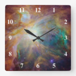 Orion Nebula with White Numbers Square Wall Clocks