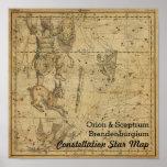 Orion Sceptrum Brandenburg Constellation Star Map Poster