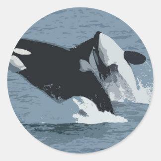 Orka Whale Round Sticker