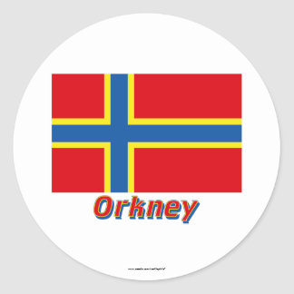 Orkney Flag with Name Classic Round Sticker