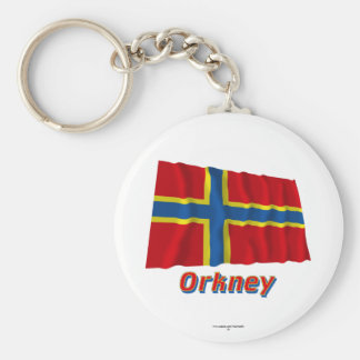 Orkney Waving Flag with Name Keychain