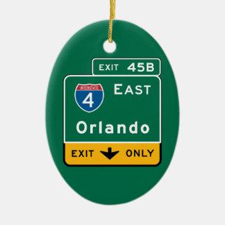 Orlando, FL Road Sign Ceramic Ornament