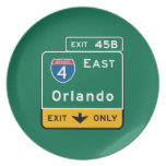 Orlando, FL Road Sign Party Plates