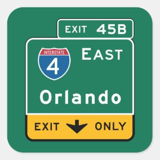 Orlando, FL Road Sign Square Sticker