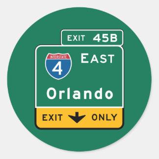 Orlando, FL Road Sign Classic Round Sticker