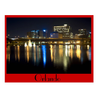 Orlando, Florida at night from across Lake Lucerne Postcard