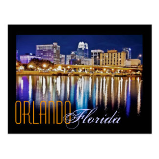 Orlando, Florida at night from Lake Lucerne. Postcards