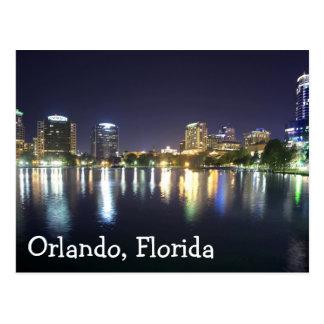 Orlando, Florida at night, reflection on Lake Eola Postcard